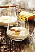 Mulled wine zabaglione with cinnamon sticks and orange peel