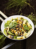 Pasta salad with spinach, walnuts and peppers