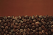 Coffee beans against brown background