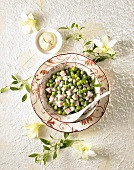 Pea and ham salad with mayonnaise (overhead view)