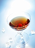 Dry Manhattan with cocktail cherry