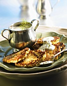 Courgette pancakes with dill sauce