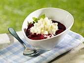 Rice pudding and plum compote with port
