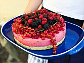 Person serving berry torte (Sweden, Midsummer)