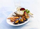 Seafood platter with garnish of vegetables
