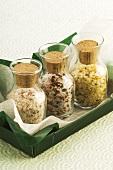 Three jars of different spiced salts