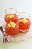 Watermelon jelly with honeydew melon balls