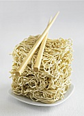 Chinese egg noodles with chopsticks