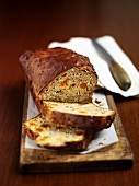 Courgette and banana loaf, partly sliced