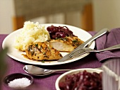 Chicken breast with red wine onions and mashed potato