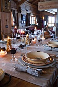 Festive table in country home
