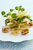 Apple and pear salad with watercress and walnuts