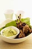 Lamb chops with avocado and wasabi dip