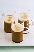 Cappuccino jelly in three glasses