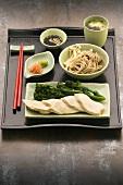 Chicken fillet, broccoli raab, noodles, ginger, wasabi, soy sauce (Japan)