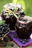 Blueberry jam in jars