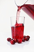 Pouring cranberry juice