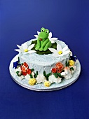 Pond cake with marzipan frog
