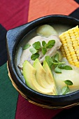 Ajiaco bogotano (chicken soup with avocado, Columbia) in bowl (Galinsoga)