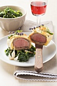 Boneless loin of lamb in puff pastry with herbs