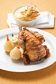 Guinea fowl with chilli pears and parsnip puree