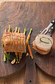 Loin of pork with walnut pesto stuffing