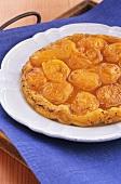 Apricot tart on plate