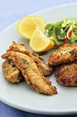 Deep-fried fish with potato cakes and salad