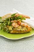 Lemon prawn and courgette sandwich