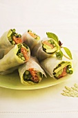 Rice paper rolls with fish and vegetable filling
