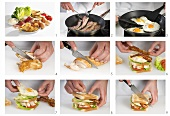 Making club sandwich with chicken, egg, tomato and bacon