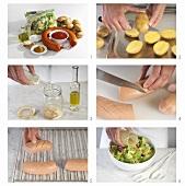 Preparing Knackwurst (sausage) with potatoes and salad