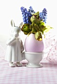 Easter decoration with grape hyacinths