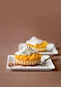 Individual peach flan with cream