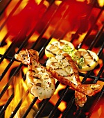 Butterfly prawns on a barbecue