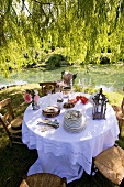 Laid table by pond in romantic garden
