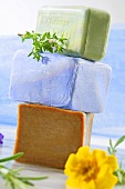 Assorted organic herb soaps
