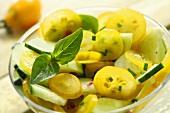 Yellow tomato salad