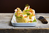 Potatoes stuffed with prawns and dill