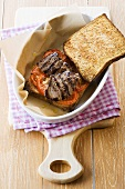 Grilled beef and tomato sandwich