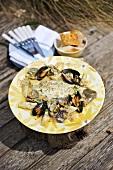 Lemon sole with shellfish