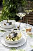 Sardine rolls with chick-pea and avocado salad