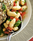 Warm bean salad to serve with grilled lamb steak
