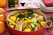 Chicken and vegetable stew with oranges