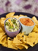Nachos with roquamole and hummus with red paprika