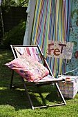 Deckchair beside a pavilion