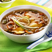 Vegetable soup with wontons and lime (Thailand)