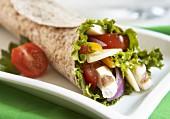 Chicken, mozzarella and vegetable wrap