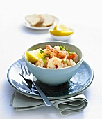 Scampi with lemon and fresh coriander