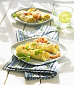 Lasagne rolls with scampi